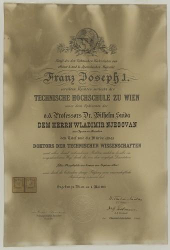 Diploma doktora tehničkih znanosti Vladimira Njegovana