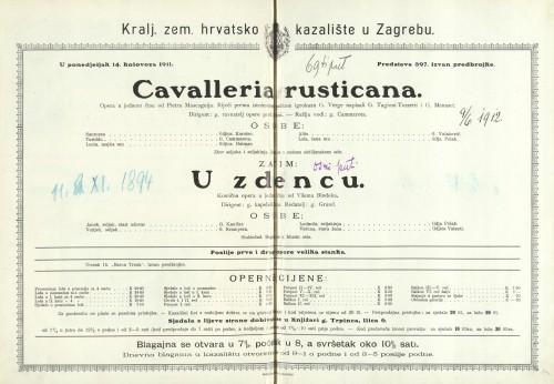 Cavalleria rusticana = U zdencu Opera u jednom činu = Komična opera u jednom činu