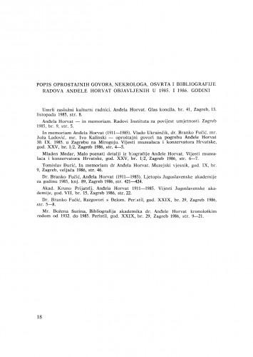 Popis oproštajnih govora, nekrologa, osvrta i bibliografije radova Anđele Horvat objavljenih u 1985. i 1986. godini