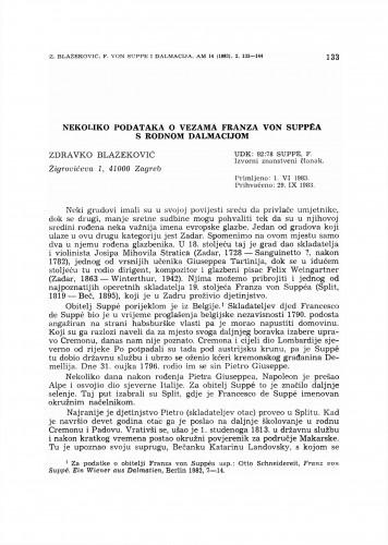 Nekoliko podataka o vezama Franza von Suppéa s rodnom Dalmacijom