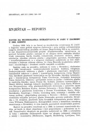 Zavod za muzikološka istraživanja IC JAZU u 1988. godini