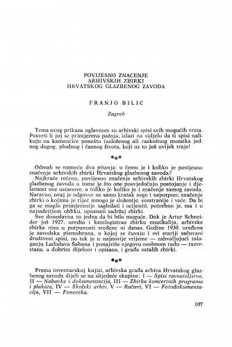 Povijesno značenje arhivskih zbirki Hrvatskog glazbenog zavoda