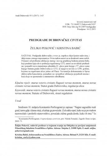 Predgrađe dubrovačke Civitas / Željko Peković, Kristina Babić