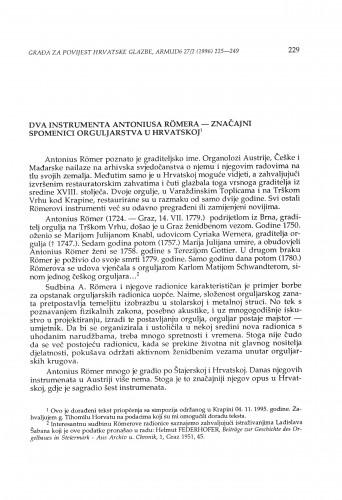 Dva instrumenta Antoniusa Römera - značajni spomenici orguljarstva u Hrvatskoj