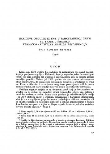 Nakićeve orgulje iz 1762. u samostanskoj crkvi sv. Frane u Šibeniku: tehničko-akustička analiza, restauracija