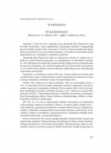 In memoriam : Petar Šimunović : (Dračevica, 19. veljače 1933. - Split, 5. kolovoza 2014.)
