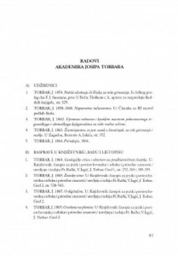 Radovi akademika Josipa Torbara