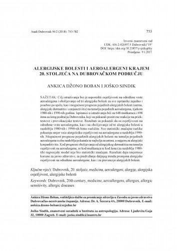 Alergijske bolesti i aeroalergeni krajem 20. stoljeća na dubrovačkom području / Ankica Džono Boban i Joško Sindik
