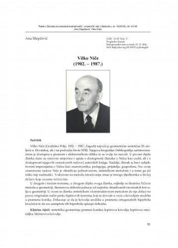 Vilko Niče : (1902. – 1987.)