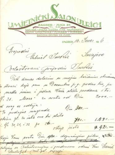 Dopis Antuna Ullricha Gabrijelu Jurkiću, 16.1.1926.
