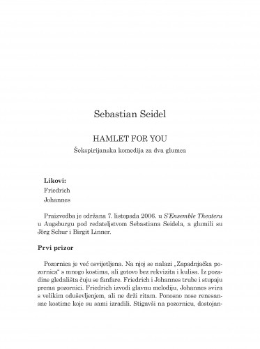 Hamlet for you : Šekspirijanska komedija za dva glumca