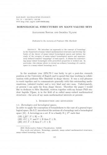 Bornological structures on many-valued sets / Alexander Šostak, Ingrida Uljane