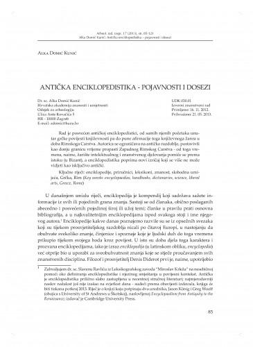 Antička enciklopedistika - pojavnosti i dosezi