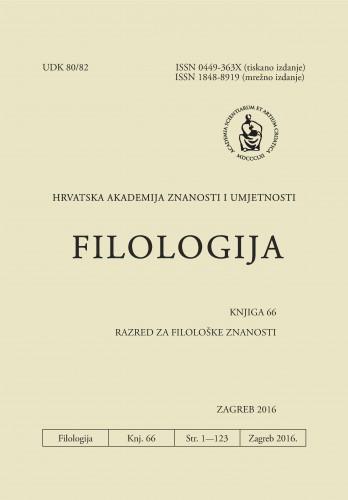 Knj. 66(2016) : Filologija : časopis Razreda za filološke znanosti Hrvatske akademije znanosti i umjetnosti