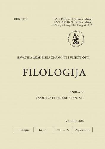 Knj. 67(2016) : Filologija : časopis Razreda za filološke znanosti Hrvatske akademije znanosti i umjetnosti