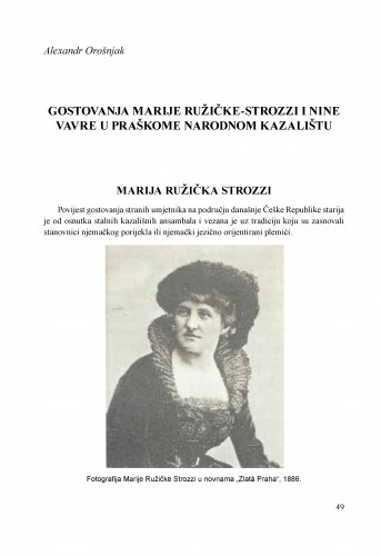 Gostovanja Marije Ružičke-Strozzi i Nine Vavre u praškome Narodnom kazalištu