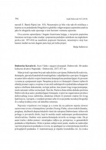 Dubravko Kovačević, Sveti Vlaho i njegovi festanjuli. Dubrovnik: Hrvatsko kulturno društvo Napredak - Dubrovnik, 2017. : [prikaz] / Rina Kralj-Brassard