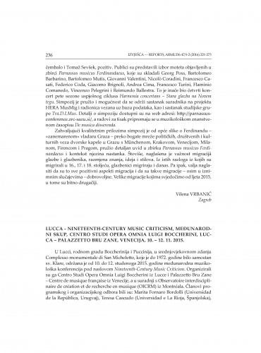 Lucca - Nineteenth-Century Music Criticism, Međunarodni skup, Centro studi opera omnia Luigi Bocherini, Lucca - Palazzetto Bru Zane, Venecija, 10. -12. 11. 2015. : [izvješće]