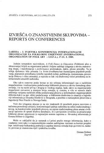 3. svjetska konferencija I.O.F.A., Larissa, 17-21. 5. 1989.