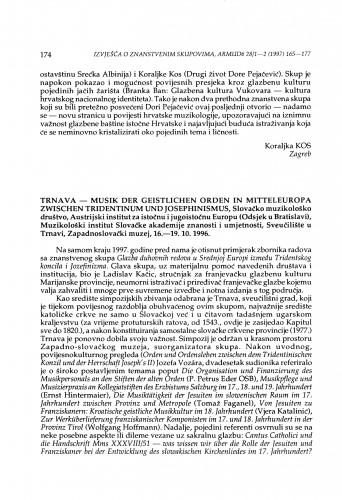 Musik der geistlichen Orden in Mitteleuropa zwischen Tridentinum und Josephinismus, Trnava, 16.-19. 10. 1996.