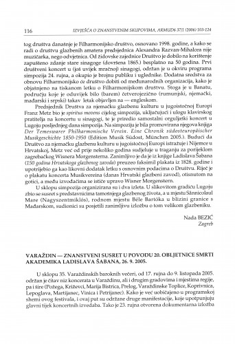 Varaždin - Znanstveni susret u povodu 20. obljetnice smrti akademika Ladislava Šabana, 26. 9. 2005. : [izvješće]