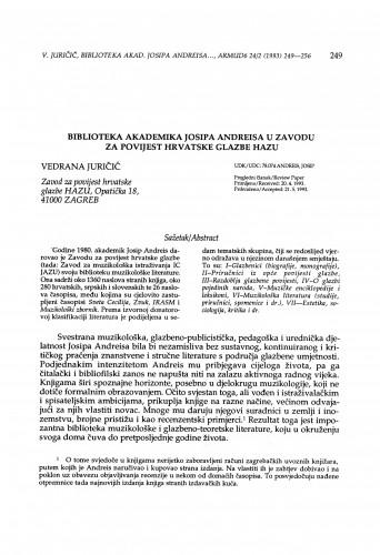 Biblioteka akademika Josipa Andreisa u Zavodu za povijest hrvatske glazbe HAZU