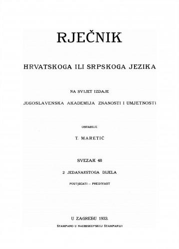Sv. 48 : poutjecati-predivast : Rječnik hrvatskoga ili srpskoga jezika