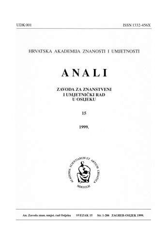 Sv. 15 (1999) : Anali Zavoda za znanstveni i umjetnički rad u Osijeku