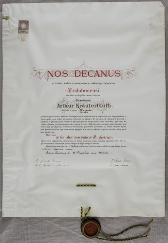 Diploma magistra farmacije Arthura Kräuterblütha