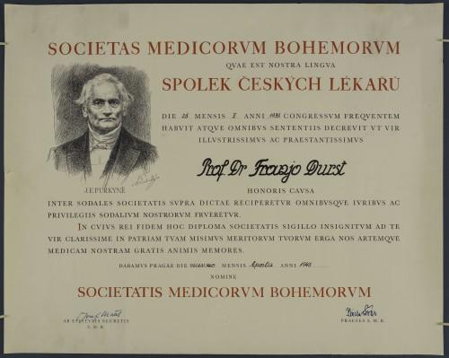 Povelja Češkog liječničkog društva prof. dr. Franji Durstu