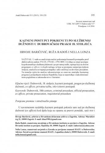 Kazneni postupci pokrenuti po službenoj dužnosti u dubrovačkoj praksi 18. stoljeća / Hrvoje Baričević, Ruža Radoš, Nella Lonza