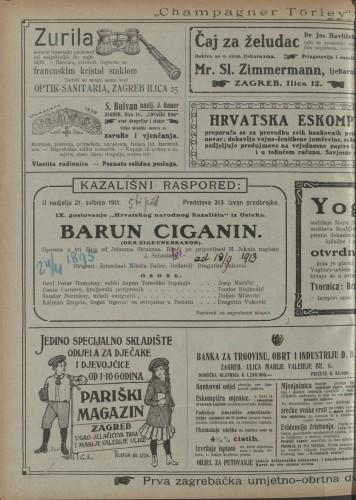Barun Ciganin  =  Der Zigeunerbaron : Opereta u tri čina