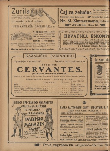 Cervantes : Opereta u tri čina  =  Das Spitzentuch der Königin