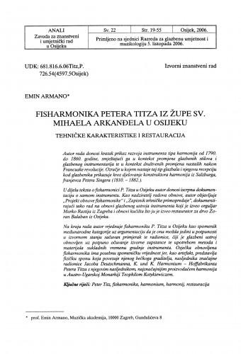 Fisharmonika Petera Titza iz Župe sv. Mihaela Arkanđela u Osijeku : tehničke karakteristike i restauracija
