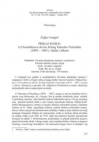 Prikaz knjige: Iz Florschützova okvira: Kirurg Vatroslav Florschütz (1879. - 1967.) riječju i slikom : [prikaz]
