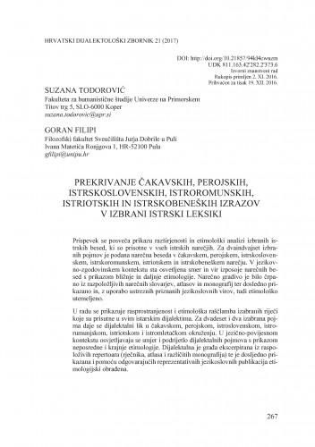 Prekrivanje čakavskih, perojskih, istrskoslovenskih, istroromunskih, istriotskih in istrskobeneških izrazov v izbrani istrski leksiki