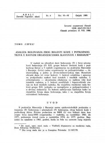 Analiza bolovanja zbog bolesti kože i potkožnog tkiva u radnim organizacijama Slavonije i Baranje