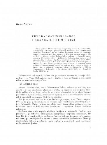 Prvi dalmatinski sabor i događaji s njim u vezi