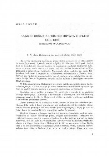 Kako je došlo do pobjede Hrvata u Splitu god. 1882. : (prilikom 80-godišnjice)