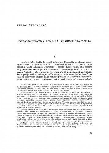 Državnopravna analiza oslobođenja Zadra