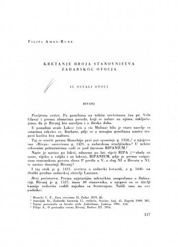 Kretanje broja stanovništva Zadarskog otočja : II. Ostali otoci