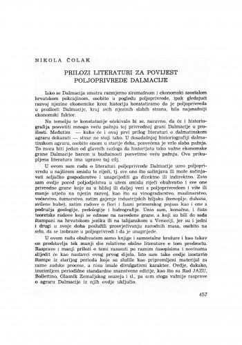 Prilozi literaturi za povijest poljoprivrede Dalmacije