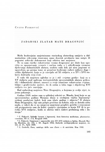 Zadarski zlatar Mate Dragonjić