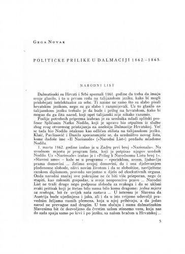 Političke prilike u Dalmaciji 1862.-1865.