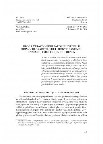 Uloga Varaždinskih baroknih večeri u promociji graditeljske i likovne baštine u Hrvatskoj i šire te njezinoj obnovi
