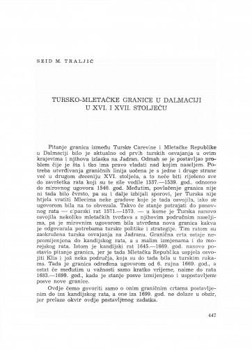 Tursko-mletačke granice u Dalmaciji u XVI. i XVII. stoljeću