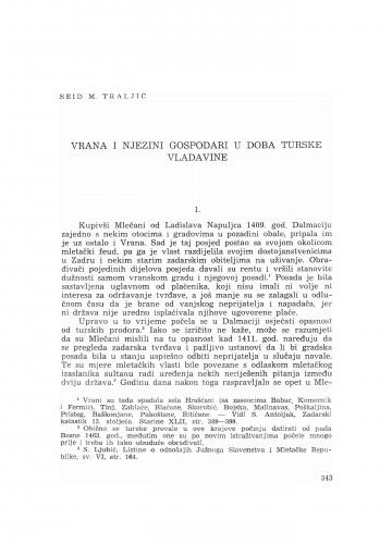 Vrana i njezini gospodari u doba turske vladavine