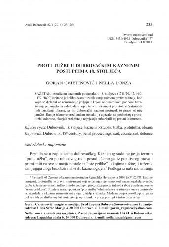 Protutužbe u dubrovačkim kaznenim postupcima 18. stoljeća / Goran Cvjetinović, Nella Lonza