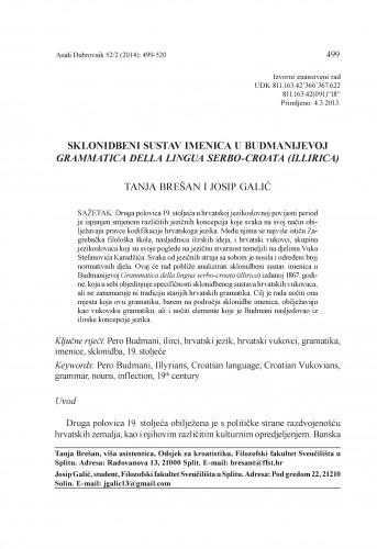 Sklonidbeni sustav imenica u Budmanijevoj Grammatica della lingua serbo-croata (illirica) / Tanja Brešan, Josip Galić
