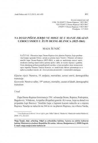 Na dugo pišem jerbo ne mogu se u manje iskazat: uzroci smrti u župi Desne-Rujnica (1825-1861) : Anali Zavoda za povijesne znanosti Hrvatske akademije znanosti i umjetnosti u Dubrovniku